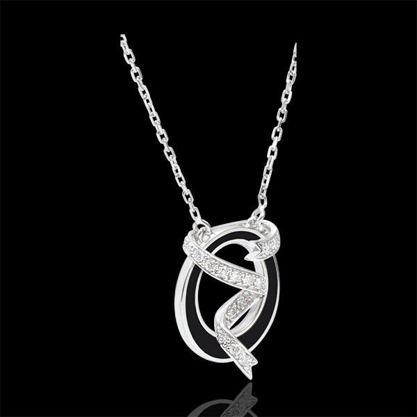 Collar Claroscuro - Polvo de Estrellas - oro blanco 18 quilates - laca negra y diamantes