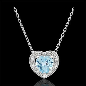 Collar Corazón Encantado - oro blanco 9 quilates y topacio azul
