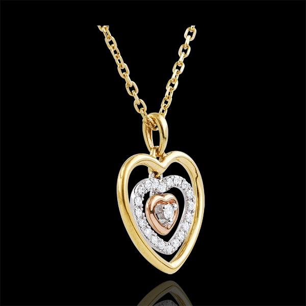Collar Corazón Orma - 3 oros - oro amarillo, oro blanco, oro rosa 9 quilates y diamante 0.1 quilates