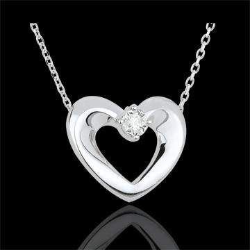 Collar Corazón - oro blanco 9 quilates y diamante - 45 cm