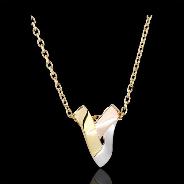 Collar Corazón Plegado 3 oros - oro amarillo, oro blanco, oro rosa 18 quilates