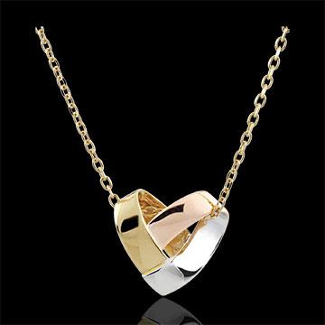 Collar Corazón Plegado 3 oros - oro amarillo, oro blanco, oro rosa 9 quilates