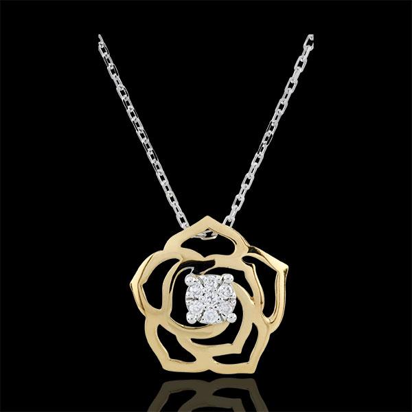 Collar Eclosión - Bosquejo de Rosa - oro amarillo 18 quilates y diamantes