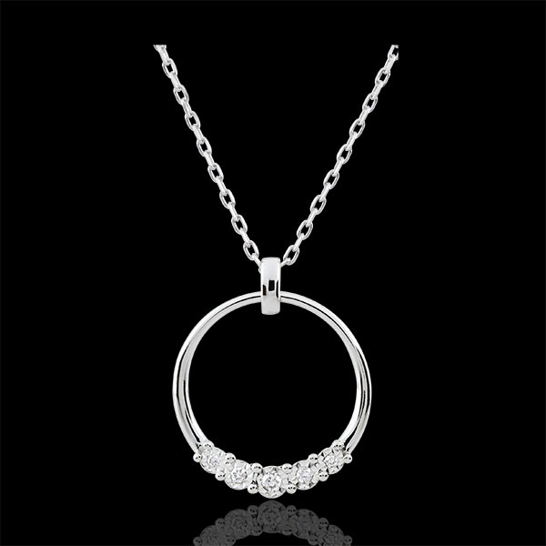 Collar Eternidad - oro blanco 9 quilates y 5 diamantes