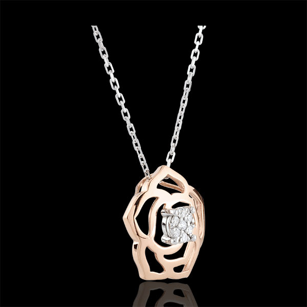 Collar Frescura - Bosquejo de Rosa - oro rosa 18 quilates y diamantes