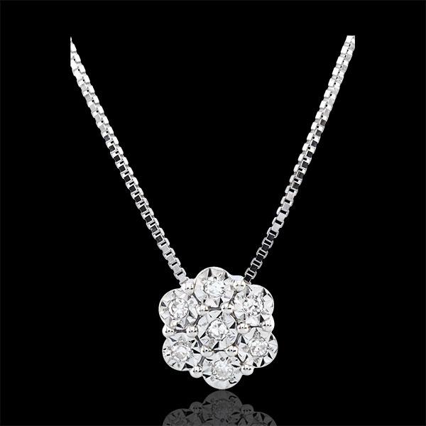 Collar Frescura - Flor de Copo de Nieve - 7 diamantes y oro blanco 9 quilates