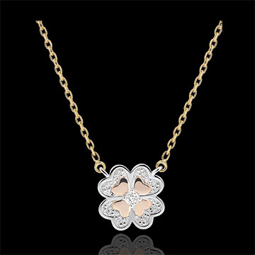 Collar Frescura - Trébol Deslumbrante - 3 oros 9 quilates y diamantes