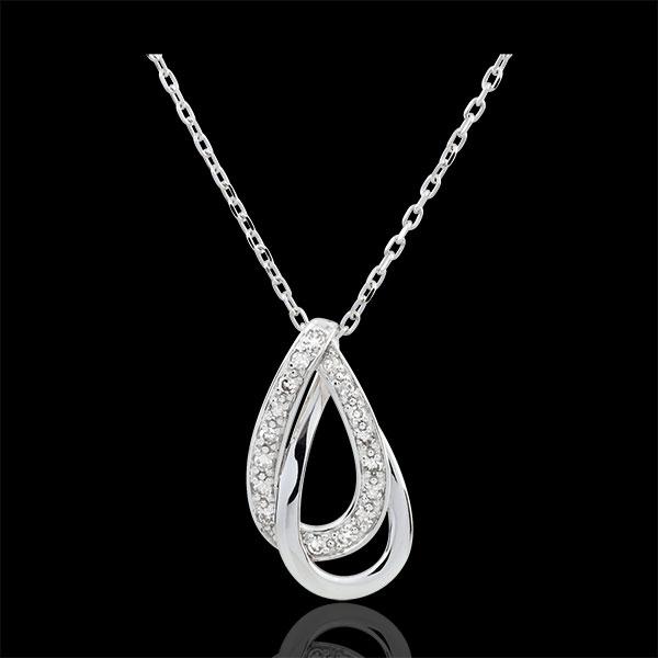 Collar Glamour - oro blanco 9 quilates y 17 diamantes