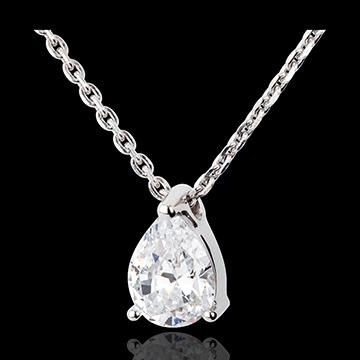Collar lágrima diamante - oro blanco - 1 quilates