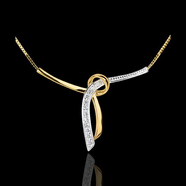 Collar liana - oro amarillo y oro blanco empedrado 18 quilates - 3 diamantes