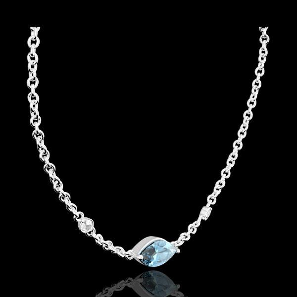 Collar Mirada de Oriente - Topacio azul y diamantes - oro blanco 9 quilates