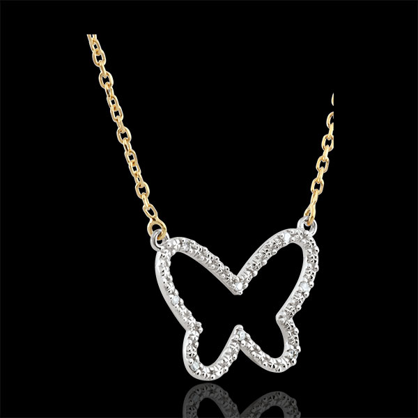Collar Paseo Soñado - Mariposa Nube - dos oros - oro blanco y oro amarillo 9 quilates