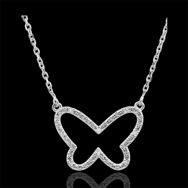 Collar Paseo Soñado - Mariposa Nube - oro blanco 9 quilates