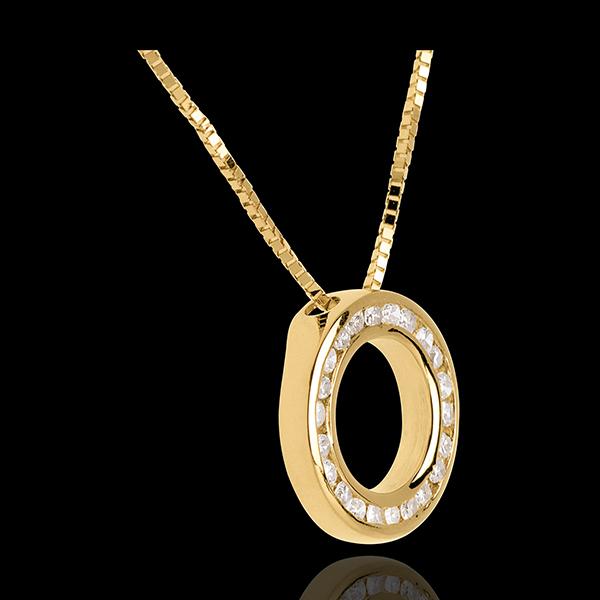 Collar péndulo oro amarillo empedrado - 22 diamantes