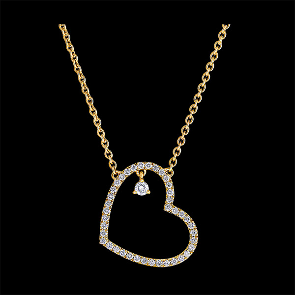 Collar Precioso Secreto - Corazón Inclinado - oro amarillo de 9 quilates y diamantes