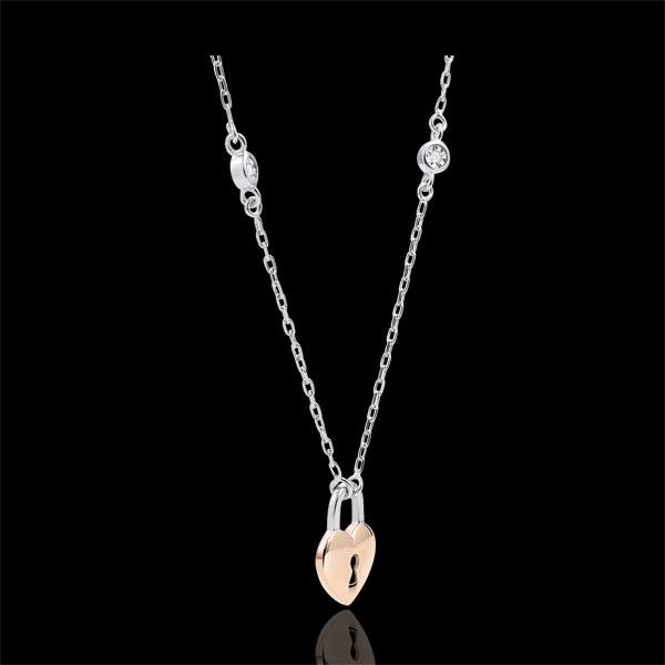 Collar Precioso Secreto - Corazón - oro blanco y oro rosa 9 quilates