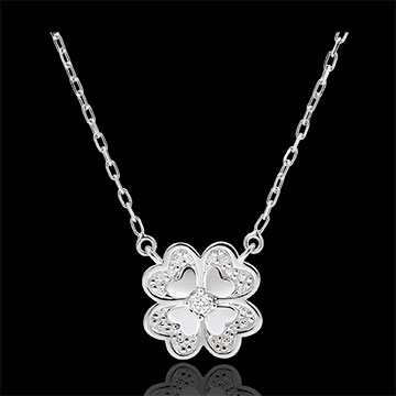 Collar Frescura - Trébol Deslumbrante - oro blanco 9 quilates y diamantes -