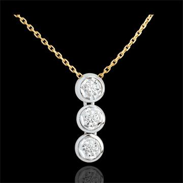 Collar Triología estrella oro amarillo-oro blanco - 3 diamantes