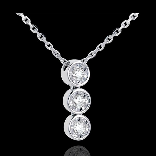 Collar Triología fugaz oro blanco - 3 diamantes