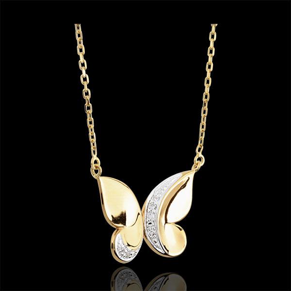 Collier Balade Imaginaire - Papillon Cascade - or blanc et or jaune 9 carats