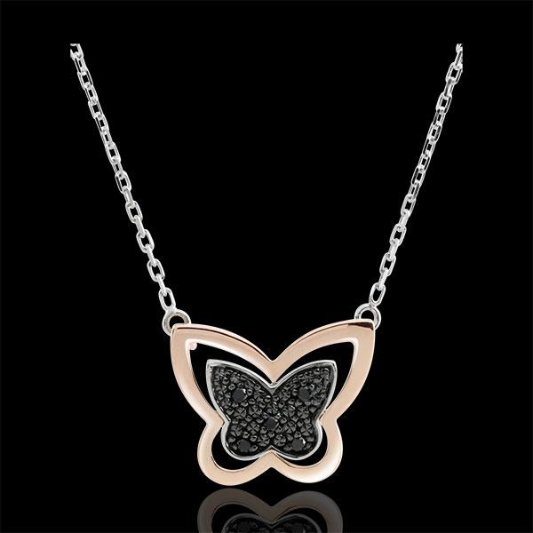 Collier Balade Imaginaire - Papillon Lunaire - or blanc et or rose 9 carats et diamants noirs