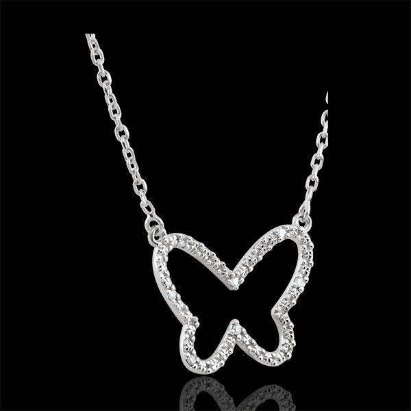 Collier Balade Imaginaire - Papillon Nuage - or blanc 9 carats