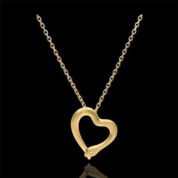 Collier Balade Imaginaire - Serpent d'amour - variation petit modèle - or jaune 18 carats brossé diamant