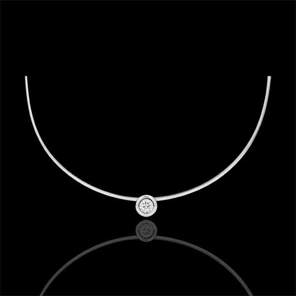 Collier cable or blanc 18 carats puce diamant