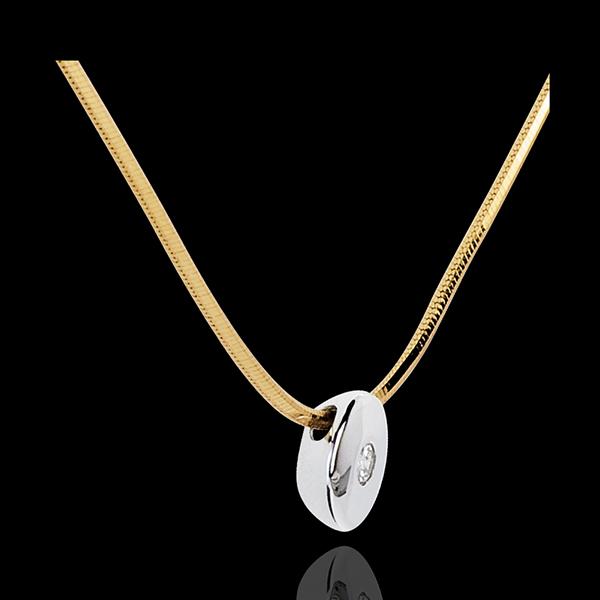 Collier Centre du monde - or blanc et or jaune 18 carats