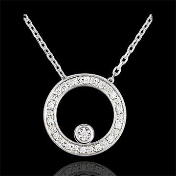 Collier Cerchio d'eleganza - Oro Bianco -18 carati - 15 Diamanti