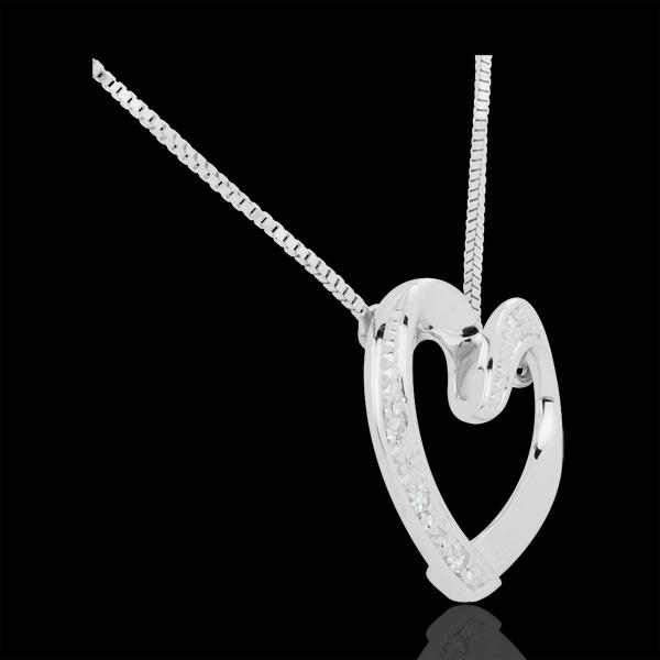 Collier coeur amoureux or blanc 9 carats et diamants