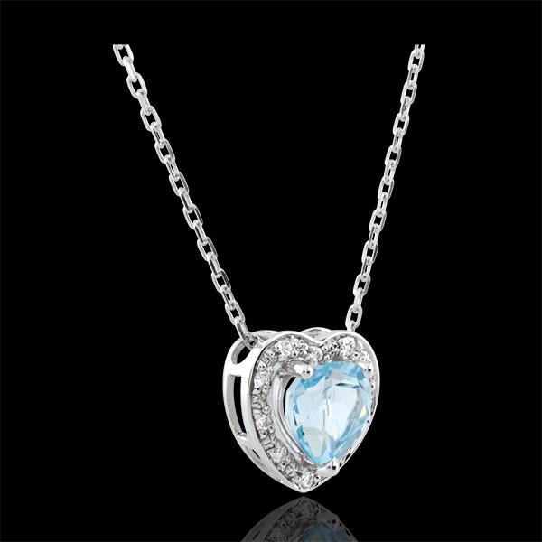 Collier Coeur Enchantement - topaze bleue - or blanc 18 carats