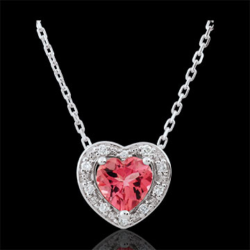 Collier Coeur Enchantement - tourmaline rose - or blanc 18 carats