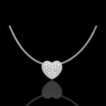 Collier Coeur Monica - or blanc 18 carats