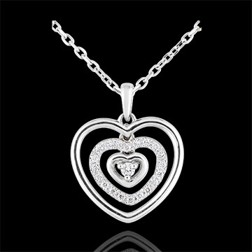 Collier Coeur Orma or blanc 9 carats