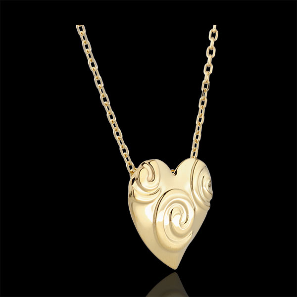 Collier Coeur Spirales - or jaune 9 carats