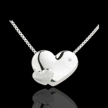 Collier Coeurs Douceur or blanc 9 carats