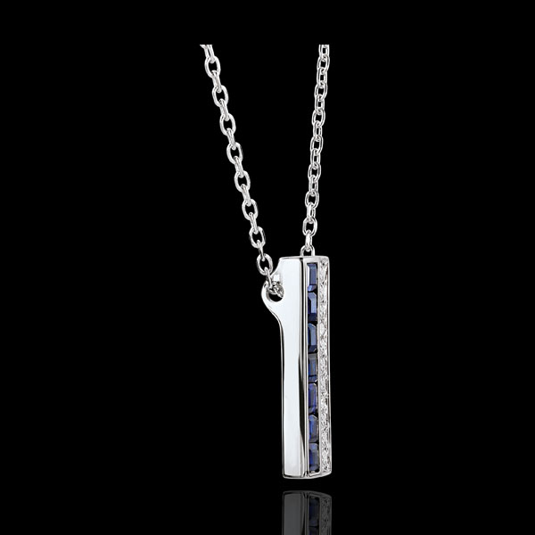 Collier Constellation - Zodiaque - saphirs bleus et diamants - or blanc 18 carats