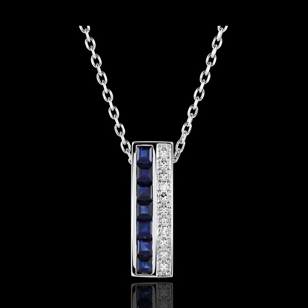 Collier Constellation - Zodiaque - saphirs bleus et diamants - or blanc 9 carats