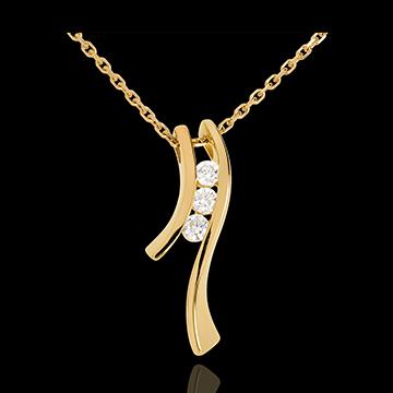 Halskette Trilogie Kostbarer Kokon - Silhouette - Gelbgold - 3 Diamanten - 9 Karat