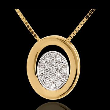 Diamant Collier Medaillon in Gelbgold - 19 Diamanten