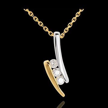 Halskette Trilogie Kostbarer Kokon - Liebesgedicht - Gelb- und Weißgold - 3 Diamanten - 18 Karat