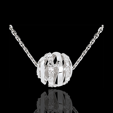 Collier Liebesnetz in Weissgold - 11 Diamanten