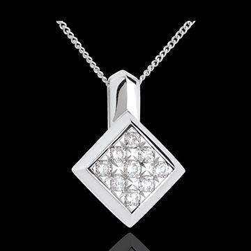 Collier damier or blanc 18 carats pavé - 0.25 carats