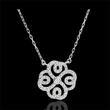 Collier Destinée- Trèfle Arabesque - or blanc 9 carats et diamants