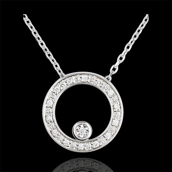 Collier Destino - Cerchio d'eleganza - Oro Bianco -18 carati - 15 Diamanti