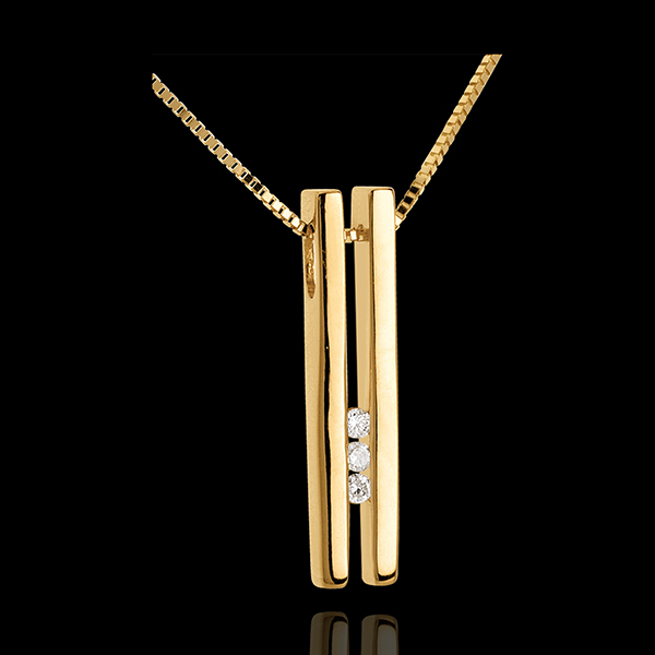Collier Diapason Trilogie or jaune 18 carats - 3 diamants