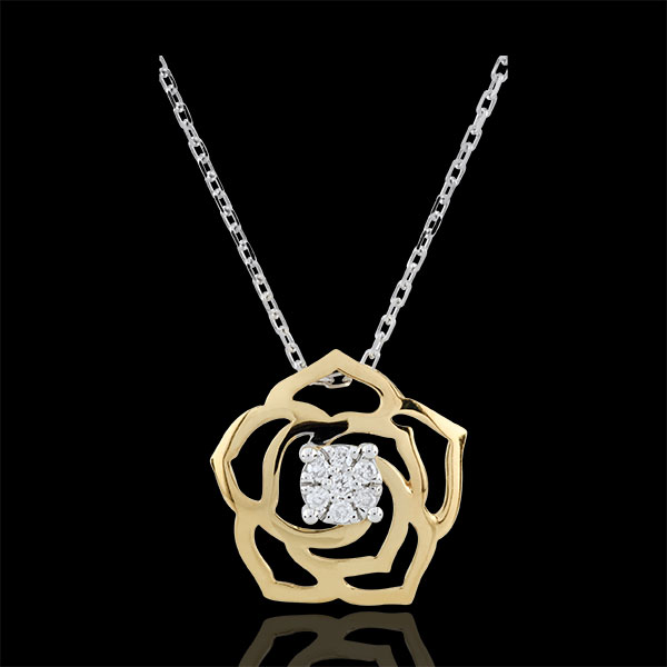 Collier Éclosion- Rose Absolue - or blanc et or jaune 18 carats