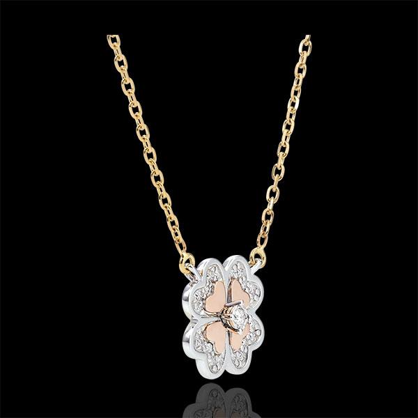 Collier Éclosion - Trèfle Étincelant - 3 ors et diamants - trois ors 9 carats