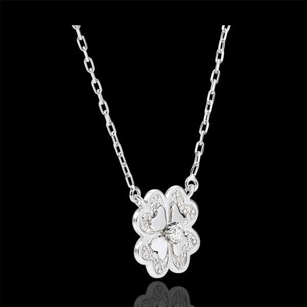 Collier Éclosion - Trèfle Étincelant - or blanc 9 carats et diamants